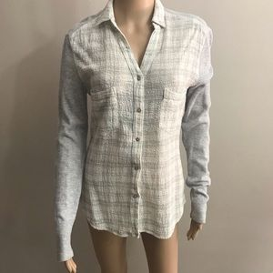 Holding horses button down shirt Gray Sz S